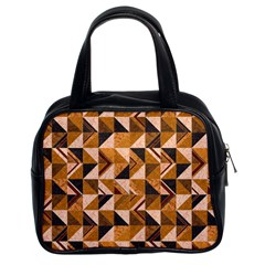 Brown Tiles Classic Handbags (2 Sides) by FunkyPatterns
