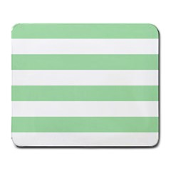 Horizontal Stripes - White and Celadon Green Large Mousepad by mirbella