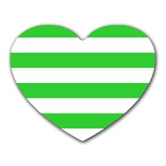 Horizontal Stripes - White and Lime Green Heart Mousepad by mirbella