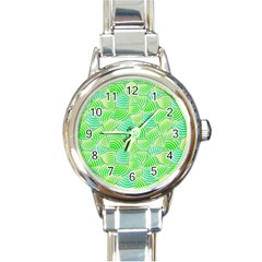 Green Glowing Round Italian Charm Watch by FunkyPatterns