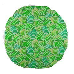 Green Glowing Large 18  Premium Round Cushions by FunkyPatterns