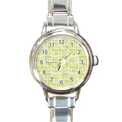 Pastel Green Round Italian Charm Watch by FunkyPatterns