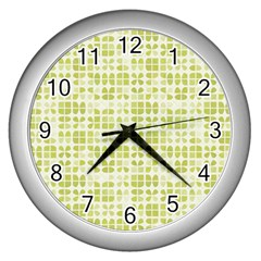 Pastel Green Wall Clocks (silver)  by FunkyPatterns