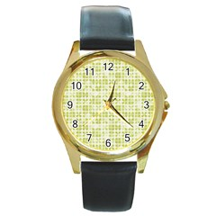 Pastel Green Round Gold Metal Watch by FunkyPatterns