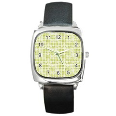 Pastel Green Square Metal Watch by FunkyPatterns