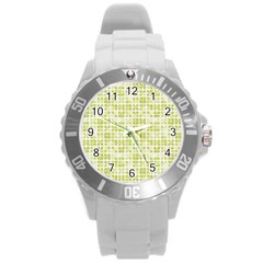 Pastel Green Round Plastic Sport Watch (l) by FunkyPatterns