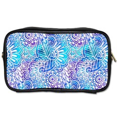 Boho Flower Doodle On Blue Watercolor Toiletries Bags 2 Side by KirstenStar
