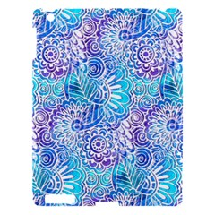 Boho Flower Doodle On Blue Watercolor Apple Ipad 3/4 Hardshell Case by KirstenStar