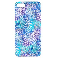 Boho Flower Doodle On Blue Watercolor Apple Iphone 5 Hardshell Case With Stand by KirstenStar