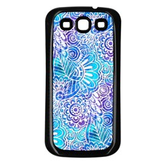 Boho Flower Doodle On Blue Watercolor Samsung Galaxy S3 Back Case (black) by KirstenStar