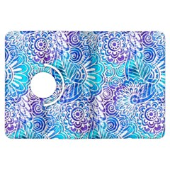 Boho Flower Doodle On Blue Watercolor Kindle Fire Hdx Flip 360 Case by KirstenStar