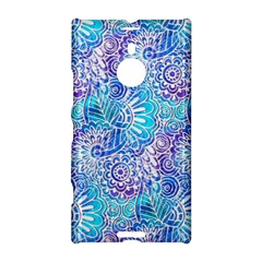 Boho Flower Doodle On Blue Watercolor Nokia Lumia 1520 by KirstenStar