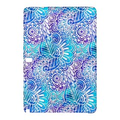 Boho Flower Doodle On Blue Watercolor Samsung Galaxy Tab Pro 10 1 Hardshell Case by KirstenStar