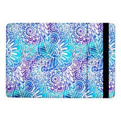 Boho Flower Doodle On Blue Watercolor Samsung Galaxy Tab Pro 10 1  Flip Case by KirstenStar
