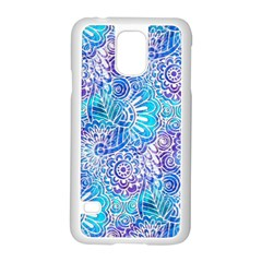 Boho Flower Doodle On Blue Watercolor Samsung Galaxy S5 Case (white) by KirstenStar