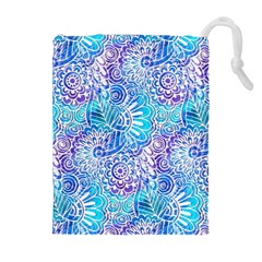 Boho Flower Doodle On Blue Watercolor Drawstring Pouches (extra Large) by KirstenStar