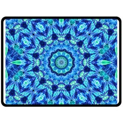 Blue Sea Jewel Mandala Double Sided Fleece Blanket (large) by Zandiepants