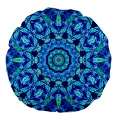 Blue Sea Jewel Mandala Large 18  Premium Flano Round Cushion  by Zandiepants