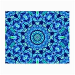 Blue Sea Jewel Mandala Small Glasses Cloth (2 Sides) by Zandiepants