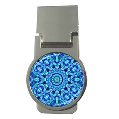 Blue Sea Jewel Mandala Money Clip (round) by Zandiepants