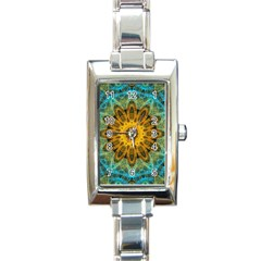 Blue Yellow Ocean Star Flower Mandala Rectangle Italian Charm Watch by Zandiepants