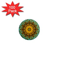 Blue Yellow Ocean Star Flower Mandala 1  Mini Magnet (100 Pack)  by Zandiepants