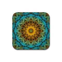 Blue Yellow Ocean Star Flower Mandala Rubber Coaster (square) by Zandiepants