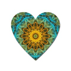 Blue Yellow Ocean Star Flower Mandala Magnet (heart) by Zandiepants