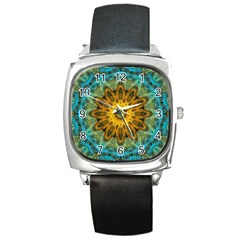 Blue Yellow Ocean Star Flower Mandala Square Metal Watch by Zandiepants