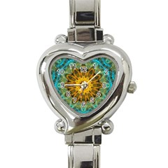 Blue Yellow Ocean Star Flower Mandala Heart Italian Charm Watch by Zandiepants