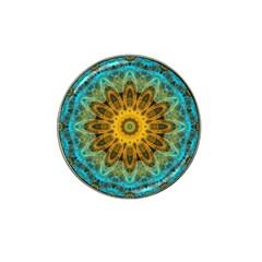 Blue Yellow Ocean Star Flower Mandala Hat Clip Ball Marker (4 Pack) by Zandiepants
