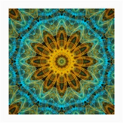Blue Yellow Ocean Star Flower Mandala Medium Glasses Cloth by Zandiepants