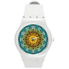 Blue Yellow Ocean Star Flower Mandala Round Plastic Sport Watch (m) by Zandiepants