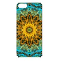 Blue Yellow Ocean Star Flower Mandala Apple Iphone 5 Seamless Case (white) by Zandiepants