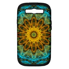 Blue Yellow Ocean Star Flower Mandala Samsung Galaxy S Iii Hardshell Case (pc+silicone) by Zandiepants