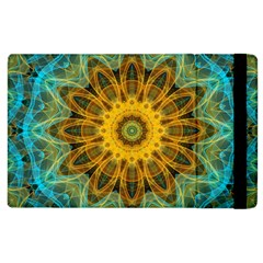 Blue Yellow Ocean Star Flower Mandala Apple Ipad 2 Flip Case by Zandiepants
