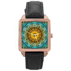Blue Yellow Ocean Star Flower Mandala Rose Gold Leather Watch  by Zandiepants