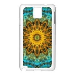 Blue Yellow Ocean Star Flower Mandala Samsung Galaxy Note 3 N9005 Case (white) by Zandiepants