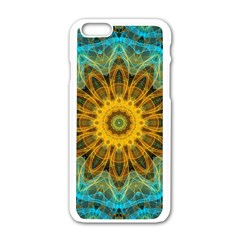 Blue Yellow Ocean Star Flower Mandala Apple Iphone 6/6s White Enamel Case by Zandiepants
