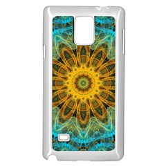 Blue Yellow Ocean Star Flower Mandala Samsung Galaxy Note 4 Case (white) by Zandiepants