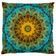 Blue Yellow Ocean Star Flower Mandala Large Flano Cushion Case (two Sides) by Zandiepants