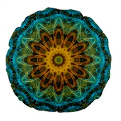 Blue Yellow Ocean Star Flower Mandala Large 18  Premium Flano Round Cushion  by Zandiepants
