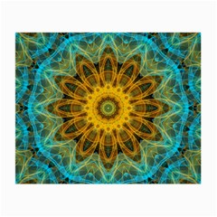 Blue Yellow Ocean Star Flower Mandala Small Glasses Cloth (2 Sides) by Zandiepants