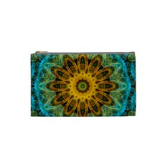 Blue Yellow Ocean Star Flower Mandala Cosmetic Bag (small) by Zandiepants