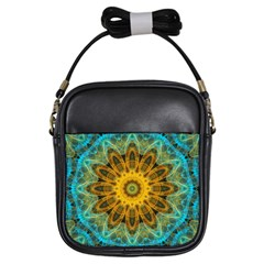 Blue Yellow Ocean Star Flower Mandala Girls Sling Bag by Zandiepants