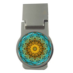 Blue Yellow Ocean Star Flower Mandala Money Clip (round) by Zandiepants