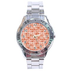 Pastel Red Stainless Steel Analogue Watch by FunkyPatterns