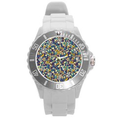 Pastel Tiles Round Plastic Sport Watch (l) by FunkyPatterns