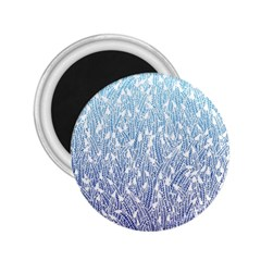 Blue Ombre Feather Pattern, White, 2 25  Magnet by Zandiepants