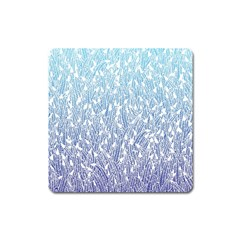 Blue Ombre Feather Pattern, White, Magnet (square) by Zandiepants